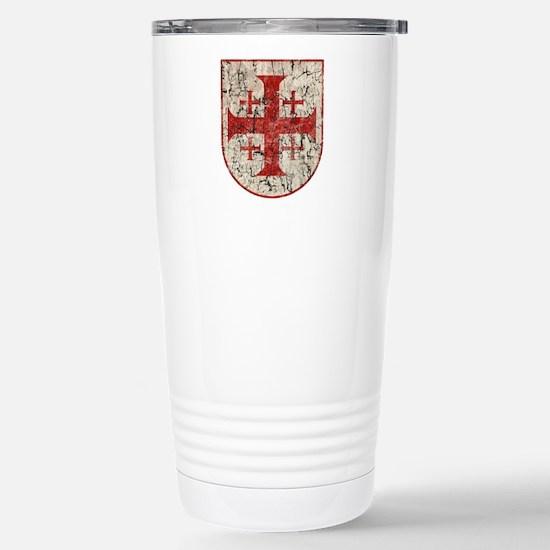 Jerusalem Cross, Distre Stainless Steel Travel Mug