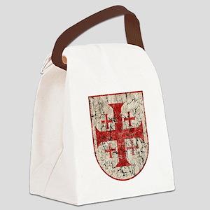 Jerusalem Cross, Distressed Canvas Lunch Bag