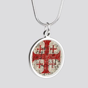 Jerusalem Cross, Distressed Silver Round Necklace