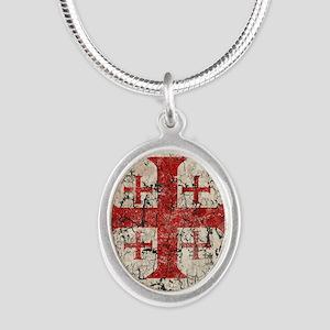 Jerusalem Cross, Distressed Silver Oval Necklace