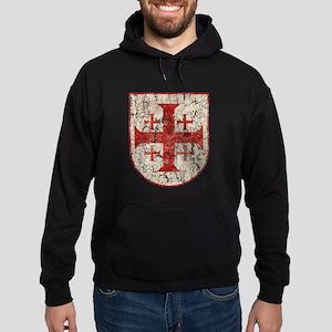 Jerusalem Cross, Distressed Hoodie (dark)