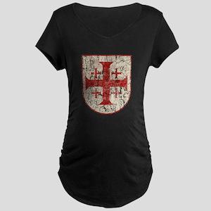 Jerusalem Cross, Distressed Maternity Dark T-Shirt