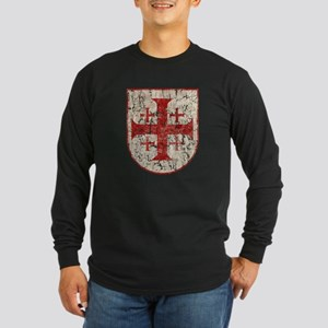 Jerusalem Cross, Distress Long Sleeve Dark T-Shirt