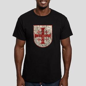 Jerusalem Cross, Distr Men's Fitted T-Shirt (dark)