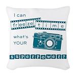 superpower blue2 Woven Throw Pillow