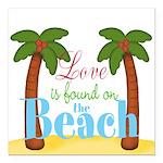 Beach Love Square Car Magnet 3