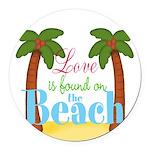 Beach Love Round Car Magnet