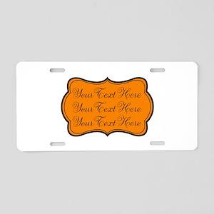 Orange and Black Aluminum License Plate