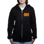 Orange and Black Women's Zip Hoodie