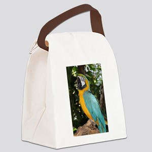 Yellow and Blue Macaw Canvas Lunch Bag