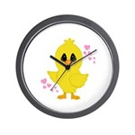 Easter Chick Hearts Wall Clock