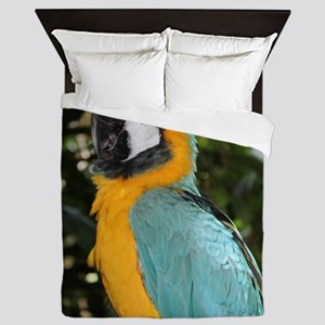 Yellow and Blue Macaw Queen Duvet
