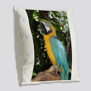 Yellow and Blue Macaw Burlap Throw Pillow