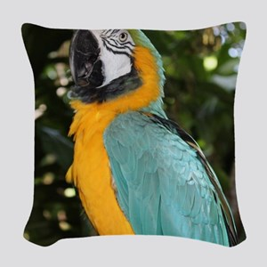 Yellow and Blue Macaw Woven Throw Pillow
