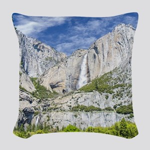 Waterfalls in the Spring Woven Throw Pillow