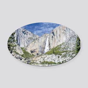 Waterfalls in the Spring Oval Car Magnet