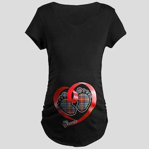 Greer Tartan Baby Feet Maternity Dark T-Shirt