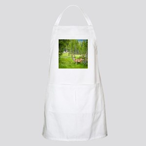 Buck in a Lush Green Meadow Apron