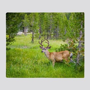 Buck in a Lush Green Meadow Throw Blanket