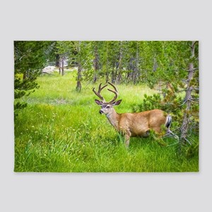 Buck in a Lush Green Meadow 5'x7'Area Rug