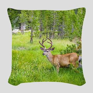 Buck in a Lush Green Meadow Woven Throw Pillow