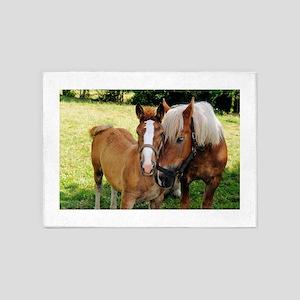 Sweet Horse Pair 5'x7'Area Rug