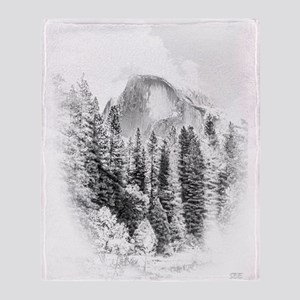 Wintry Mountain Portrait Throw Blanket