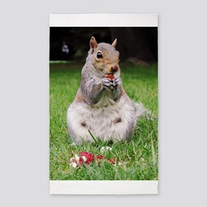 Cute Squirrel Enjoying Nut Area Rug