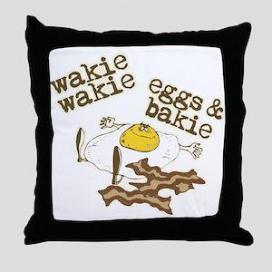 Wakie Wakie Eggs & Bakie Throw Pillow
