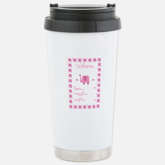 Pink Elephant Pregnancy Announcement Travel Mug