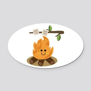 Marshmallow Fire Oval Car Magnet