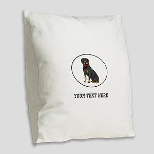 Custom Rottweiler Burlap Throw Pillow