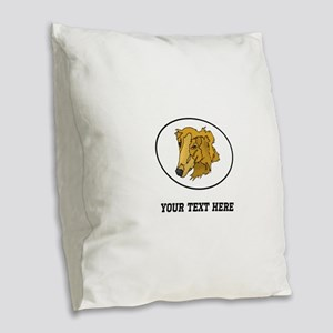 Custom Goldendoodle Burlap Throw Pillow