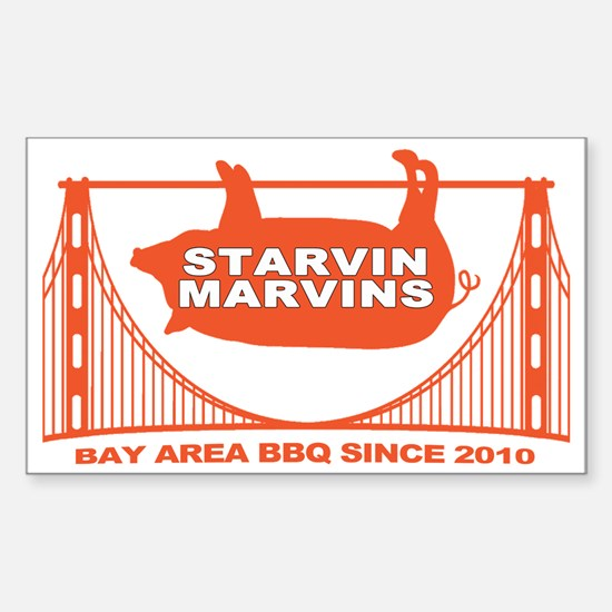 Starvin Marvins Bay Area BBQ Sticker (Rectangle)
