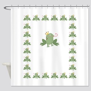 Frog Prince Baby Announcement Shower Curtain