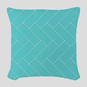 Teal Herringbone Woven Throw Pillow