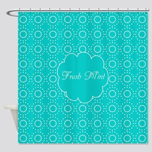 Cute Bright Turquoise Pattern Shower Curtain