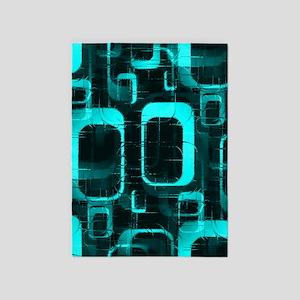 Teal Abstract 5'x7'Area Rug