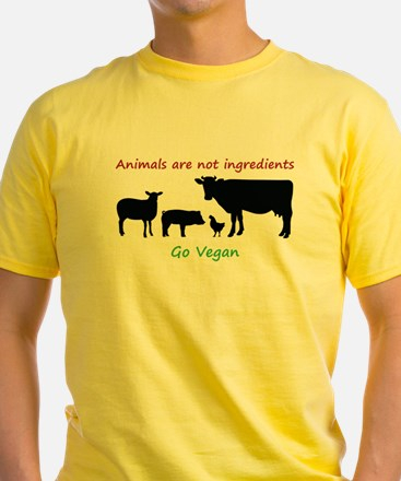 Animals are not ingredients: Go Vegan T-Shirt