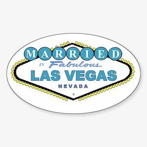NEW T Blue MARRIED in Las Vegas Oval Sticker