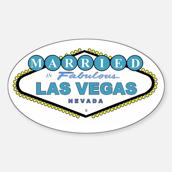 NEW T Blue MARRIED in Las Vegas Oval Decal