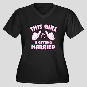 This Girl Ge Women's Plus Size V-Neck Dark T-Shirt
