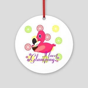 Glamping Flamingo Ornament (Round)