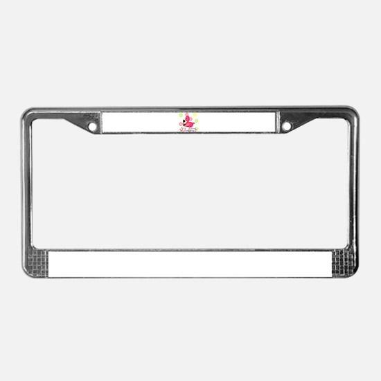 Glamping Flamingo License Plate Frame