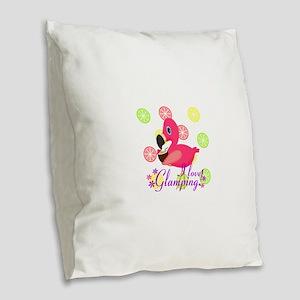 Glamping Flamingo Burlap Throw Pillow