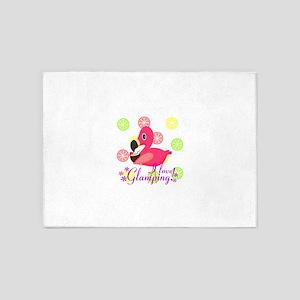 Glamping Flamingo 5'x7'Area Rug
