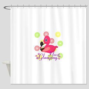 Glamping Flamingo Shower Curtain