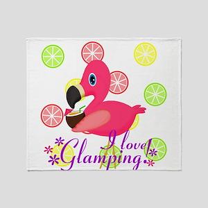 Glamping Flamingo Throw Blanket