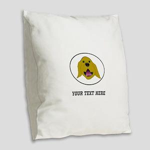 Custom Golden Retriever Burlap Throw Pillow