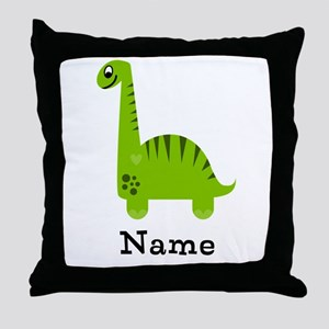 Green Dinosaur (p) Throw Pillow